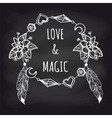 Boho chalkboard banner with wreath vector image vector image