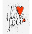 Calligraphic inscription Love you vector image vector image