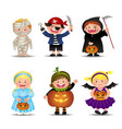 Cartoon Cute Halloween Kids In Trick Or Treat vector image vector image