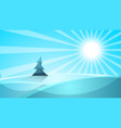 cartoon snow landscape sun snow fir vector image