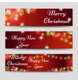 Christmas banners with garlands on red vector image vector image
