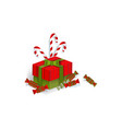 christmas gift present box candies candy canes vector image vector image