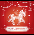 Christmas greeting card with horse vector image vector image