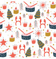 christmas seamless pattern with toys vector image