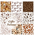 Coffee and desserts seamless patterns set vector image vector image