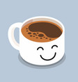 coffee cup with smiley face vector image vector image