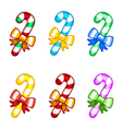 colorful candy canes with ribbon vector image