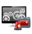 Computer Emergency Support vector image vector image