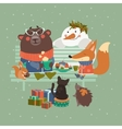 Cute animals celebrating Christmas vector image