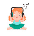 cute cartoon little girl sitting and listening vector image vector image