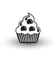 cute cup cake dessert icon black and white with vector image vector image