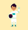 cute little racer boy holding helmet cartoon vector image
