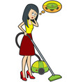 dreaming housewife with a vacuum cleaner vector image