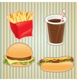 Fast food icon of burger french-fry and drink vector image