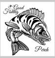 fishing logo bass fish club emblem fishing theme vector image vector image