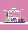 flat street shop sweets stall with menu and vector image