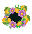 fresh lemons fruits with flowers and leafs frame vector image
