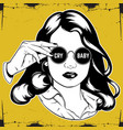 hand drawn of pretty girl in sunglasses with vector image vector image