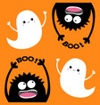 happy halloween card two flying ghost spirit vector image