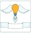 Light Bulb with Wings and Banner vector image vector image