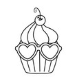 muffin with heart sunglasses black and white vector image vector image