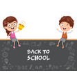 of kids sitting on blank board vector image
