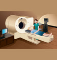 patient lying down on a scan machine vector image vector image