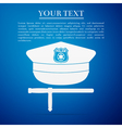 Police cap and baton flat icon on blue background vector image vector image