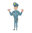 policeman eating doughnut and drinking coffee vector image vector image