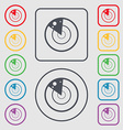 radar icon sign Symbols on the Round and square vector image vector image