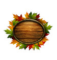realistic of autumn wooden signboard vector image vector image