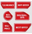 red paper sale stickers with curled edge vector image vector image