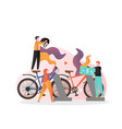 rent bicycle concept for web banner vector image vector image