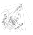 Rocket start Startup Outline vector image vector image
