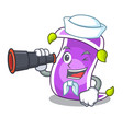 sailor with binocular cartoon fairytale story and vector image vector image