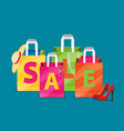 sale poster with shopping bags in flat design vector image vector image