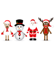 Santa Claus reindeer snowman and sheep vector image vector image