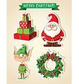 set christmas cartoon stickers vector image vector image