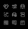 set line icons car rent vector image vector image