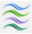 set of blue and green translucent waves vector image vector image