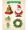 Set of Christmas cartoon stickers vector image vector image