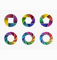 set of colorful camera lens aperture icons vector image vector image