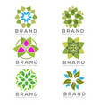 set of eco environment green leaf nature community vector image vector image