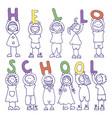 set of icons hello school vector image