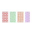 set of rectangle chinese pattern window frame vector image vector image