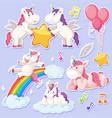 set of unicorn character vector image