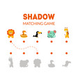 shadow matching game with cute african animals vector image vector image