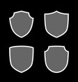 shield shape icons set gray label sign isolated vector image vector image