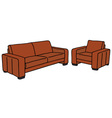 sofa and armchair vector image vector image