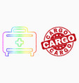 spectrum pixelated medical baggage icon and vector image vector image